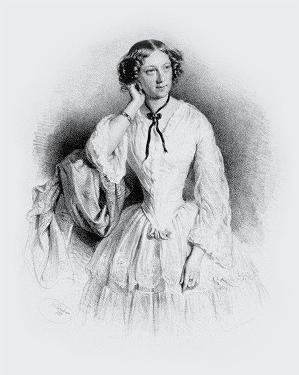 Marie Seebach, Lithographie von Joseph Kriehuber, 1855